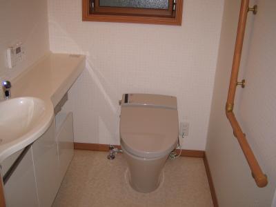 カウンターを配したトイレ